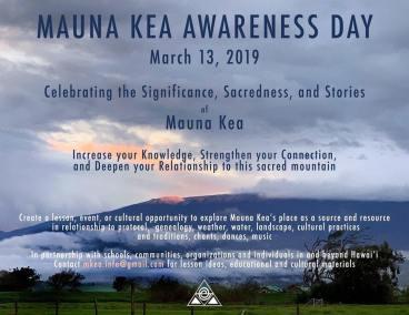 Mauna Kea Awareness Day HI island